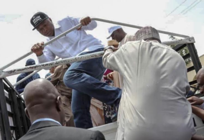 Photos: Saraki, others teargass during protest in Abuja 2